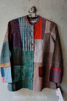 Love the idea of this though the shape isn't my style. Up-cycled jacket in hand-spun , handwoven [khadi] fabric. Altered Couture, Sewing Clothes, Refashion, Dressmaking, Mantel, Boho Fashion, Upcycle, Shirts, Pullover
