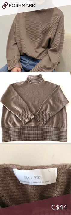 Oak + Fort Cozy Turtleneck Sweater Really cute comfy sweater form Oak + Fort. Size Small, excellent gently used condition. OAK + FORT Sweaters Cowl & Turtlenecks Long Sweaters, Sweaters For Women, Oak And Fort, Turtleneck Sweatshirt, Comfy Sweater, Long Sleeve Crop Top, Turtlenecks, Cowl, Shopping