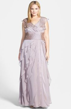 Adrianna Papell Iridescent Chiffon Petal Gown (Plus Size)   Nordstrom
