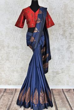 Beautiful blue applique work silk sari buy online in USA. It comes with a contrasting red designer saree blouse. If you are looking for Indian designer silk saris in USA, then Pure Elegance clothing store is your one-stop solution, shop now. Blouse Back Neck Designs, Saree Blouse Designs, Red Saree, Sari, Copper Dress, Simple Sarees, Blue And Copper, Elegant Outfit, Long Blouse
