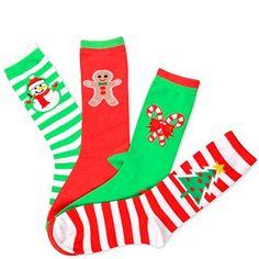 TeeHee Christmas Holiday Socks - Striped Tree Snowman Can…