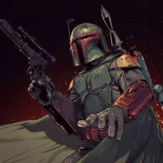 """Miggs Fett on Instagram: """"""""Remember the name Boba Fett!"""" Fantastic artwork by Sergio Sandoval with colors done by Ander Zàrate. This is the way. #art #drawing…"""" Star Wars Icons, Star Wars Rpg, Star Wars Fan Art, Star Wars Rebels, Star Wars Characters, Boba Fett Comics, Boba Fett Art, Star Wars Boba Fett, Star Wars Pictures"""