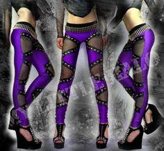 Purple Lycra/Black Fishnet Studded Leggings-custom made to fit by My Little Halo Alternative Clothing