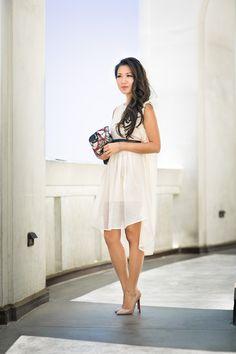 Dress :: Vivian Chan   Shoes :: Christian Louboutin  Bag :: Alexander McQueen   Accessories :: Tacori necklace and cuff, Wendy's Lookbook X Tacori Promise Bracelet.