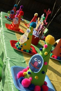 If you are planning a Sesame Street Party check out And Everything Sweet's blog. She threw a beautiful kid friendly party and  has ideas galore!