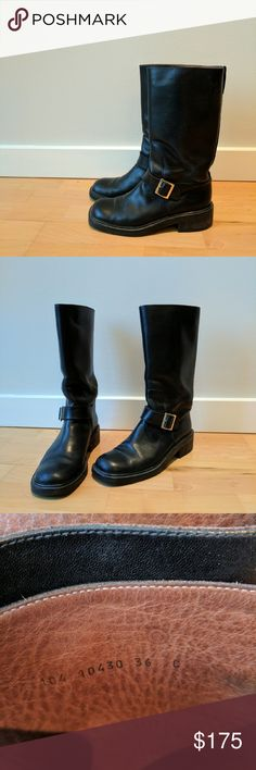 Gucci black leather moto boot size 7 Not new but still in very good condition. Slight sign of wear on heel. Gucci Shoes Combat & Moto Boots