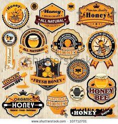 Vintage frame with Honey label set template