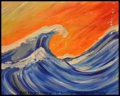 BIG WAVE at Saratoga Paint and Sip Studio—Cowabunga, dude.