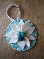 Flower Ornament (use poinsettia tutorial here for flower:http://www.smallfriendly.com/small-friendly/2010/12/diy-felt-poinsettias.html)
