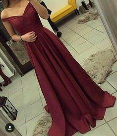 Off The Shoulder Burgundy Prom Dress,Satin Party Dresses,42024