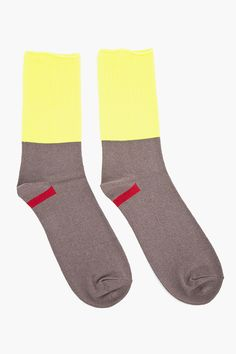 UNDERCOVER Neon Yellow & Taupe Socks
