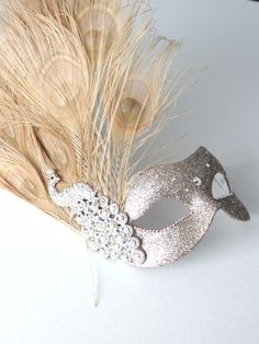 Women's Gold Crystal Peacock Feather Masquerade Mask