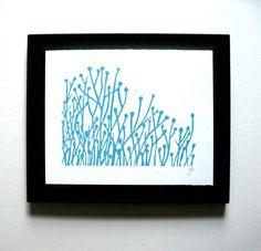 blue flowers linocut