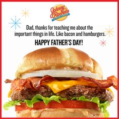 Show your dad how much you love him with a custom Johnny Rockets ecard for Father's Day! Fathers Day Ecards, Happy Fathers Day, Important Things In Life, Rockets, Love Him, Hamburger, Dads, Ethnic Recipes, Food