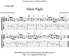 Silent Night Easy Sheet Music | Sheet Music Scores: Silent Night, easy free Christmas guitar tab sheet ...