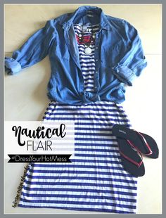 Ways to wear a LulaRoe Julia dress! Pair a Julia dress with your favorite chambray shirt, Tie in the front for a fun and relaxed look! Perfect outfit for a cruise or beach vacation! Click the pin to shop with me on Facebook! LulaRoe Celina Edwards