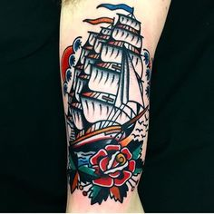 about Traditional Ship Tattoo on Pinterest | Ship Tattoos Tattoos ...