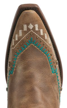 Corral Women's Vintage Honey with Turquoise Aztec Embroidery & Studs Snip Toe Western Boots | Cavender's