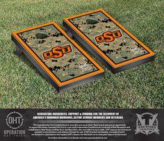 Oklahoma State Cowboys Operation Hat Trick Military Cornhole Set