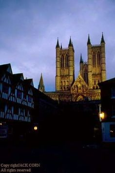 England, Lincoln, street and Cathedral, night.  Jack Corn Photography