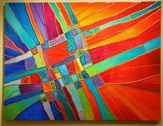 Impact II Original Mixed Media on Panel Image Size x Stained Glass Suncatchers, Fused Glass Art, Stained Glass Art, Tiffany, 2d Art, Silk Painting, Abstract Wall Art, Art Activities, Sculpture Art