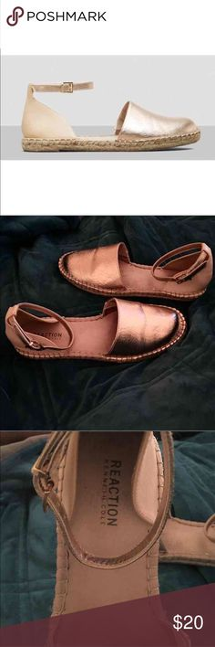 GENTLY LOVED Kenneth Cole Swell Ride 7.5 GENTLY LOVED  KENNETH COLE  Swell Ride  Espadrilles   Rose gold/Nude  Size 7.5  Runs slightly big, not too much though   Espadrille sandal  Round closed-toe design  Cushioned insole  Buckle closure at ankle  Rubber sole  Imported  In great condition, see all pics  MSRP $59.99 + tax Kenneth Cole Shoes Espadrilles