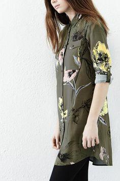 Dresses | Green Oversize Floral Shirt Dress | Warehouse