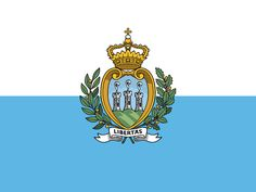 The San Marino flag was officially adopted on April 6, 1862. Blue is symbolic of the sky above, while white represents the snow covering Mt. Titano, San Marino's highest point.