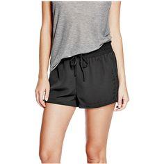GUESS Vivien Drawstring Shorts ($28) ❤ liked on Polyvore featuring shorts, draw string shorts, stretch waist shorts, guess shorts, lightweight shorts and elastic waist shorts