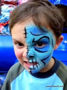 monster face painting | Two-face monster face paint by FABartFX.com