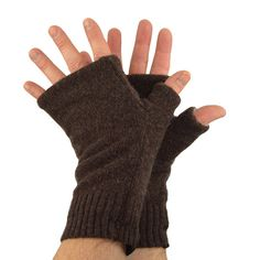 Men's Fingerless Mitts in Chocolate Brown  Recycled by mirabeans