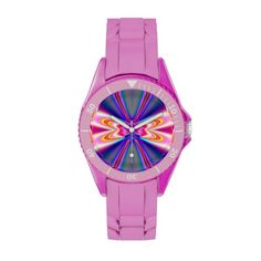$60.95  #Pink and #Blue Bow Fractal Watch  #Sale #art #artistic #abstract #Fractal #Watch #Zazzle