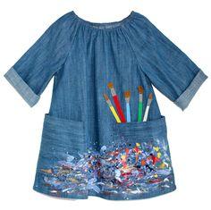 shellni 24 Trendy Diy Kids Apron Pattern Art Smock Do- Sewing For Kids, Diy For Kids, Sewing Diy, Baby Sewing, Kids Art Smock, Child Apron Pattern, Painting Apron, Smocks, Kids Apron