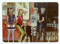 """Early line-up of first wave L. punk band The Bags, parading along Hollywood Blvd in Janet Koontz, Alice """"Douche"""" Bag, Joe Nanini, Geza X and Pat """"Trash"""" Bag. Alice Bag, Strange Events, Punk Women, One Wave, Ray Charles, City Of Angels, Color Photography, Punk Rock, Rock N Roll"""