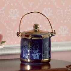 Blue & 'Gold' Biscuit Barrel - Sophisticated, private dining room - Dolls' House Dining Rooms - Dolls' House Room Displays - Dolls House Emporium