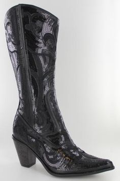 85a643a21038 Tall Bling Boots by Helens Heart - Black Cowgirl Boots Black Cowgirl Boots