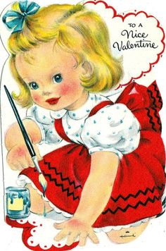 Shop Vintage Valentine Girl Painting Holiday Postcard created by tyraobryant. Personalize it with photos & text or purchase as is!