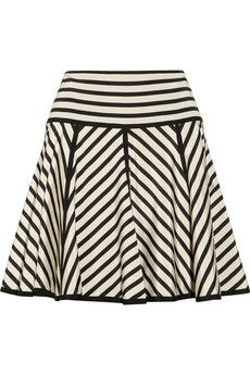 ++ striped stretch-silk crepe de chine skirt