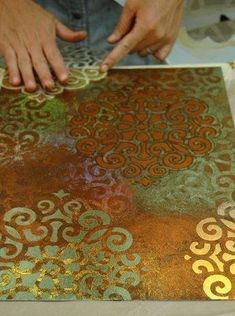 Artist working with Stencil Impressions Intrigued? Techniques taught at the Stencil Impressions Virtual Workshop, info w/link jump