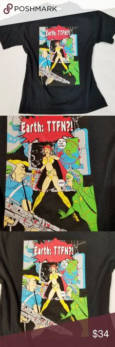 "Crazy Comic TTFN Unisex T-Shirt - Size M I don't know how or why this T-shirt was made, but if you're a fan of the TTFN saying, this is a rare T-shirt.   Most TTFN T-shirts have boring graphics. This looks never worn, and the graphic is in excellent condition.  It is a Gildan Ultra Cotton T-shirt.  Measurements: Chest: 20"" flay lay (40"").  Length is 26.75 inches.  I put it under the category of women, but can be worn by any gender.  No trades. Unknown Tops Tees - Short Sleeve"