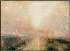 """Turner, William (Joseph Mallord W.). 1775–1851.  """"Yacht Approaching the Coast"""".  Painting, 102.2 × 142.2cm. N04662, Tate Gallery, London."""