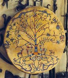 Shaman drum- the world tree frame drum Native Art, Native American Art, Larp, Frame Drum, Religion, Drums Art, Traditional Witchcraft, Medicine Wheel, Mystique