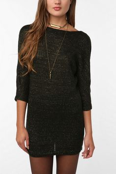 Urban Outfitters-Sparkle & Fade Shimmer Sweater Dress
