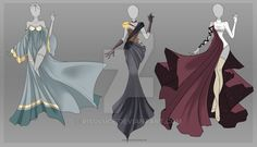 (CLOSED) Adoptable Outfit Auction 13 by Risoluce on DeviantArt--right, Youngest's gown for the gala Dress Drawing, Drawing Clothes, Anime Pokemon, Anime Dress, Fantasy Dress, Fantasy Outfits, Fashion Art, Fashion Design, Anime Outfits