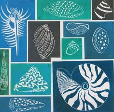 Shells I - my latest linocut - boggle eyed from laying it out - all separate… Doodles Zentangles, Stencil, Deco Marine, Seaside Art, Stamp Carving, Process Art, Linocut Prints, Art Club, Gravure