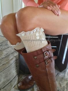 Oatmeal Lace Boot Socks lace trim & buttons by SimplySweetbySarah Lace Boot Socks, Lace Trim, Cuff Bracelets, Oatmeal, Buttons, Trending Outfits, Unique Jewelry, My Style, Boots
