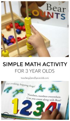 """Here's a simple math activity we did with our preschool children after reading the book """"Bear Counts"""". They were able to hold the materials in their hands while learning simple counting and number recognition, as well as color recognition - Teaching 2 and 3 Year Olds"""