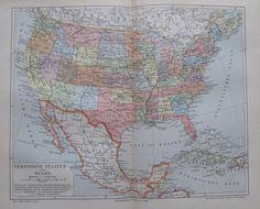 1897 Vereinigte Staaten und Mexiko alte Landkarte Karte Antique Map Lithographie