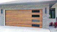 Beautiful Cedar Plank Garage Door with Tinted Glass