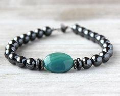 Hematite Bracelet, Men's Bracelet, Green Bracelet by ITMensCollection on Etsy Hematite Jewelry, Hematite Bracelet, Lava Bracelet, Bracelet Set, Cool Mens Bracelets, Handmade Bracelets, Jewelry Bracelets, Men's Jewelry, Jewelery